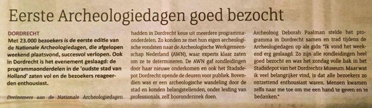 """Vandaag 21 oktober in huis-aan-huiskrant Dordt Centraal: """"Eerste Archeologiedagen goed bezocht"""""""