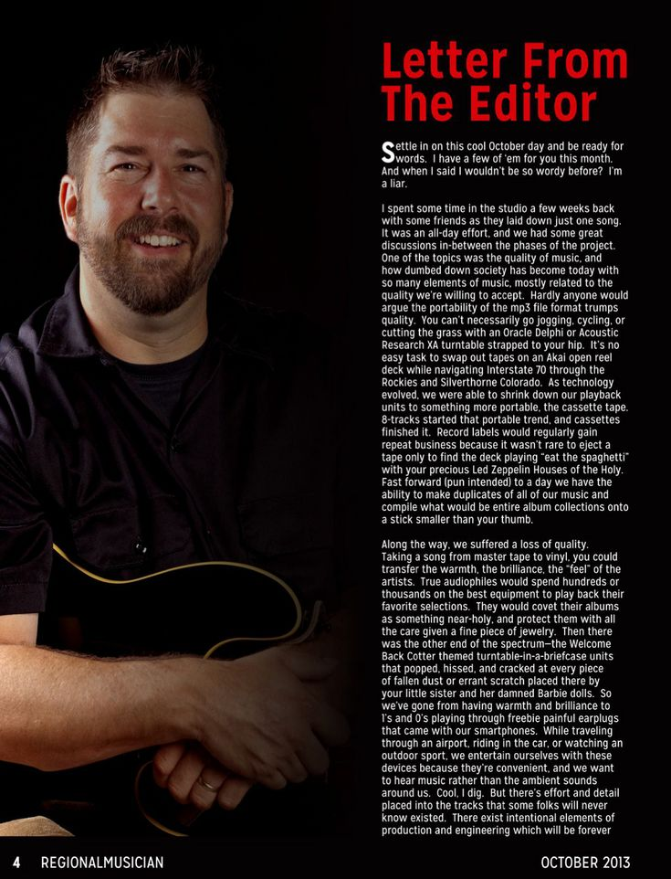 Regional Musician Magazine October 2013 Letter From The Editor Greg McNair