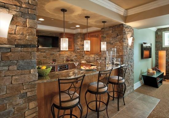 Basement Bar: Stones Veneer, House Ideas, Stones Wall, Eating House, Dreams House, Basements Bar, Basements Ideas, Veneer Stones, Cast Veneer
