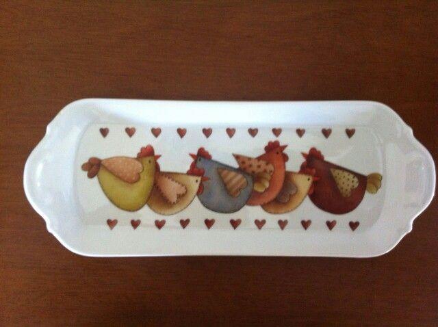 galinhas country na porcelana. by hellen lima