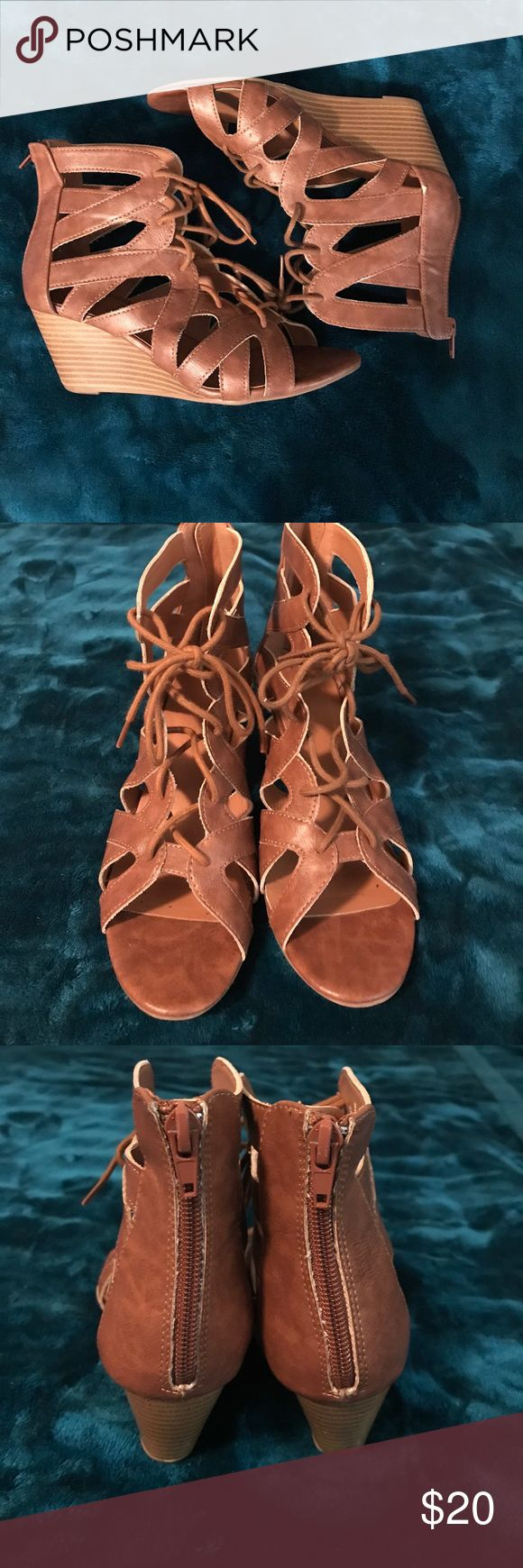 Camel wedge sandals✨ You can pair these sandals with anything! Once again, these shoes are too narrow for me. Only worn once, still in great condition! Make an offer!!!🤗 Charlotte Russe Shoes Sandals