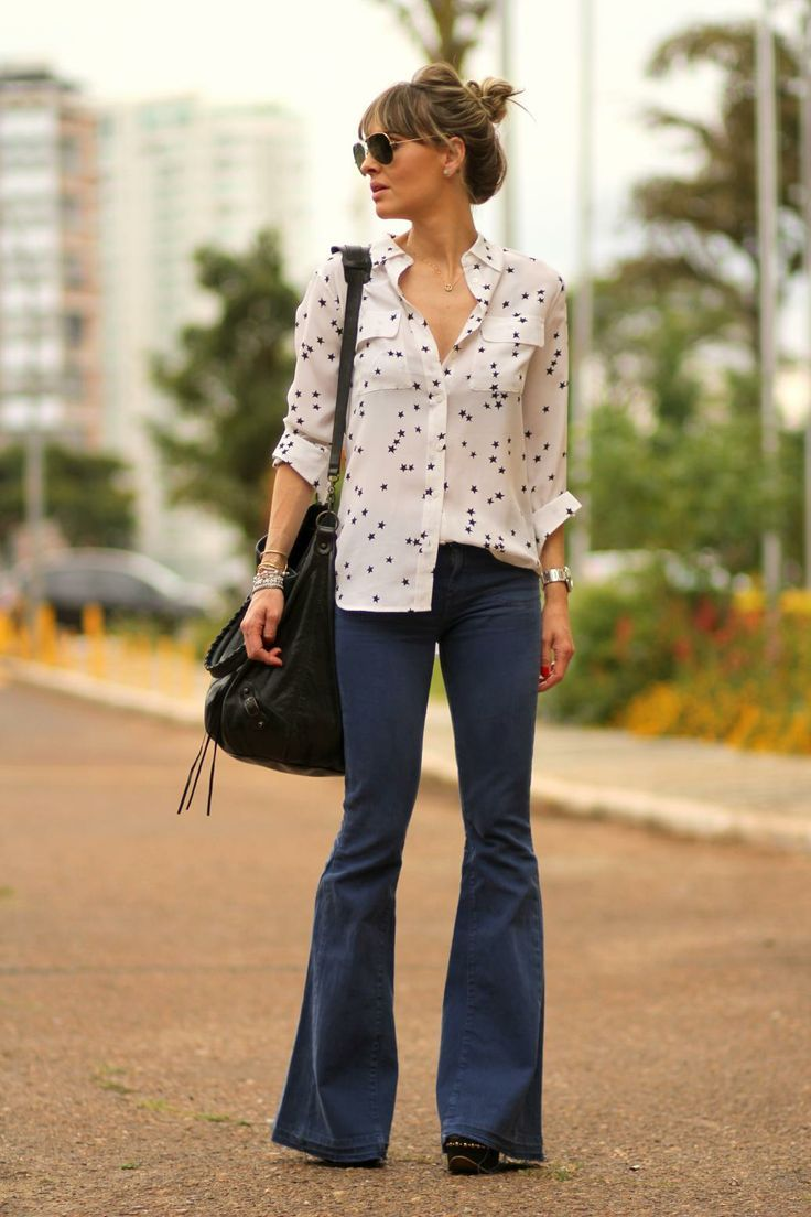 flared jeans and starry shirt