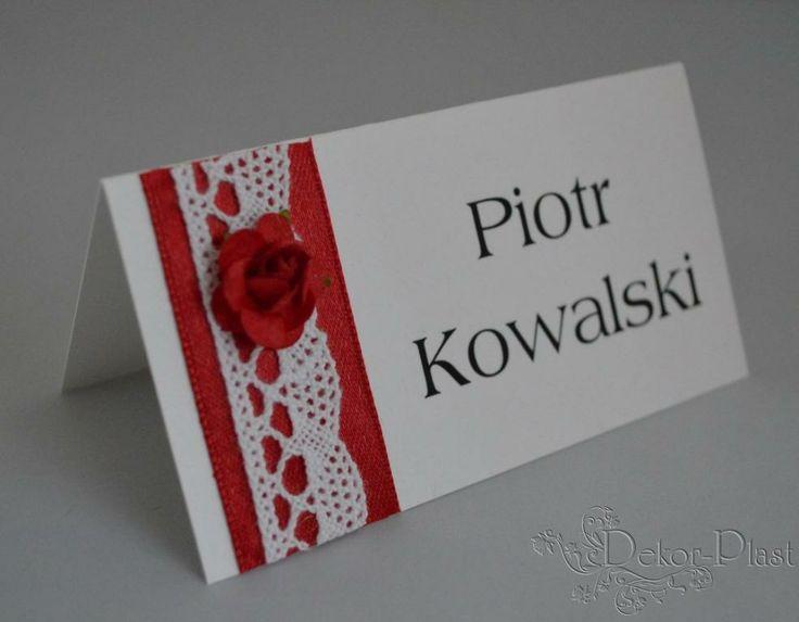 Koronka i Róże winietki wizytówki ślubne karteczki