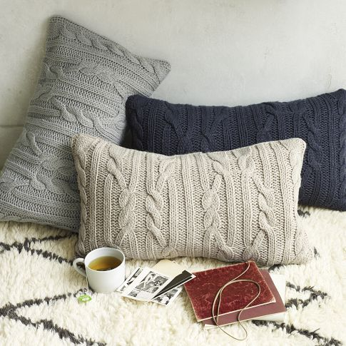 "Cable Sweater Pillow Tutorial - I love this idea. I think the cable sweaters are cute, but I love it because I think we all have a sweater of some sort that we've failed to throw out because we like how soft it is. There you have it... make it into your favorite napping/snuggle pillow and free up a hanger in the closet. :) ""Sew"" easy."