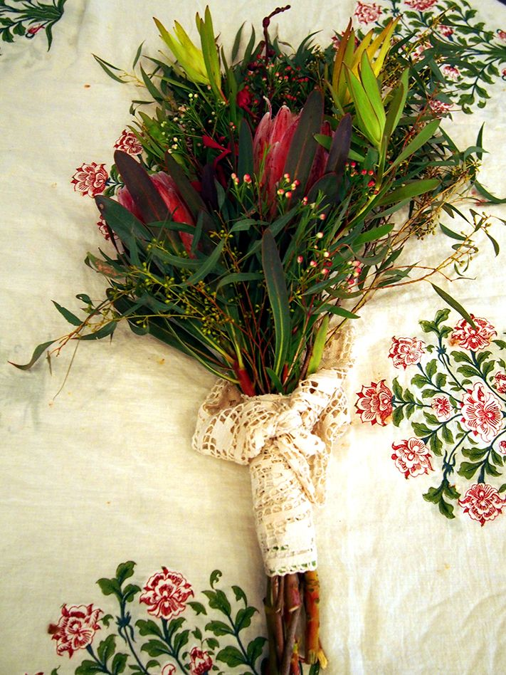 Wren & Rabbit at the Canberra Wedding Fair, July 2015 - Bouquet of Australian native flowers, wrapped with vintage lace
