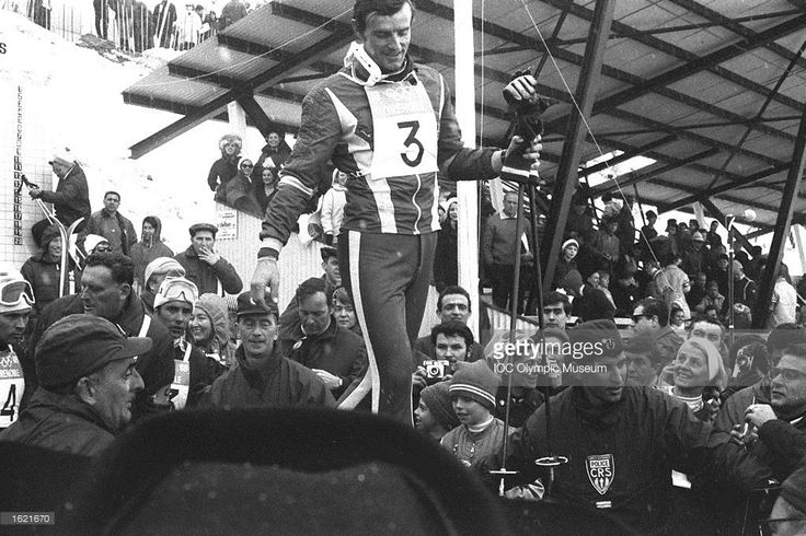 Jean-Claude Killy #3 of France walking amongst the crowd between events during the 1968 Winter Olympic Games in Grenoble, France. \ Mandatory Credit: IOC Olympic Museum /Allsport