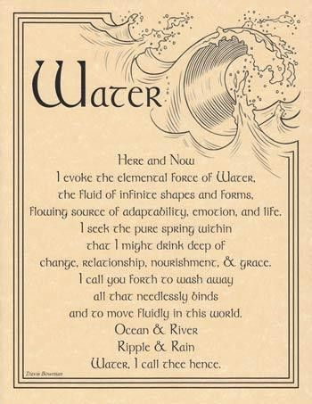 """Use the Water Evocation poster as a reference to aid you in evoking the element of water into your ritual magic, bringing its influence and power into your craft. 8 12"""" x 11""""."""