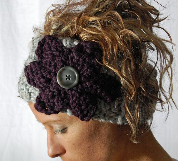 Ear Warmer FLOWER HEADBAND knit Grey Head wrap  button closure - Purple Eggplant knitted flower - gift - winter holiday accessory.
