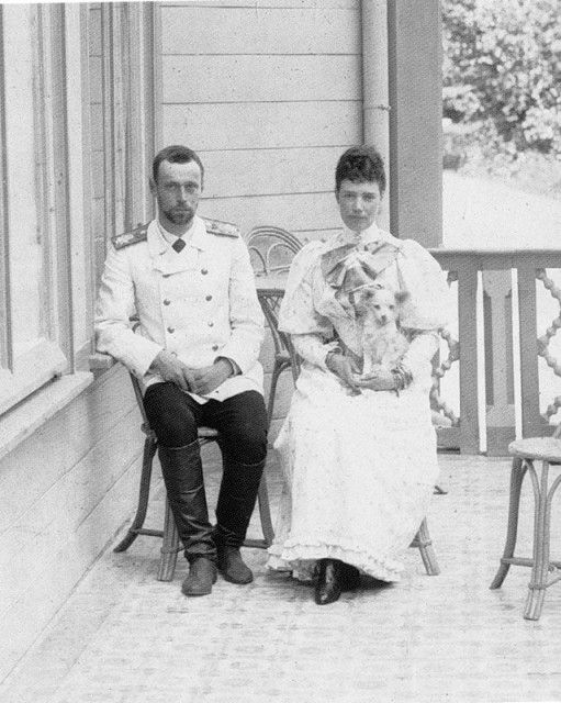 Dowager Empress Maria Feodorovna with her son Grand Duke George Alexandrovich at Abbas Tuman shortly before he passed away