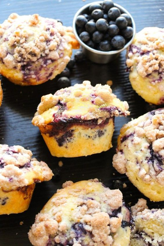 Homemade Best-Ever Blueberry Streusel Muffins.