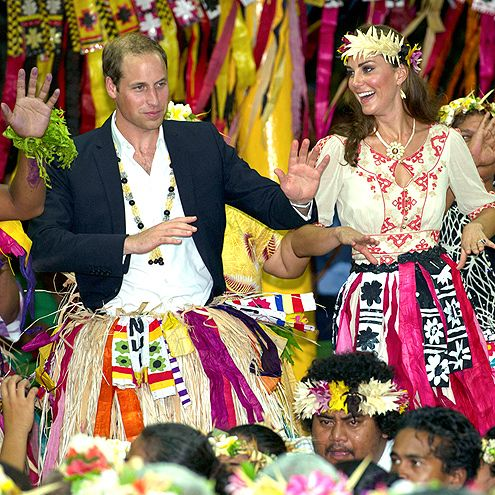 Prince William & Kate's Bucket List   DANCE IT OFF   The couple has all the right moves on the dance floor, too. During their tour of southeast Asia, they showed off their synced rhythm (and flair for grass skirts) at a September 2012 visit to the island of Tuvalu.Next up: Create a Dancing with the Royals TV show.