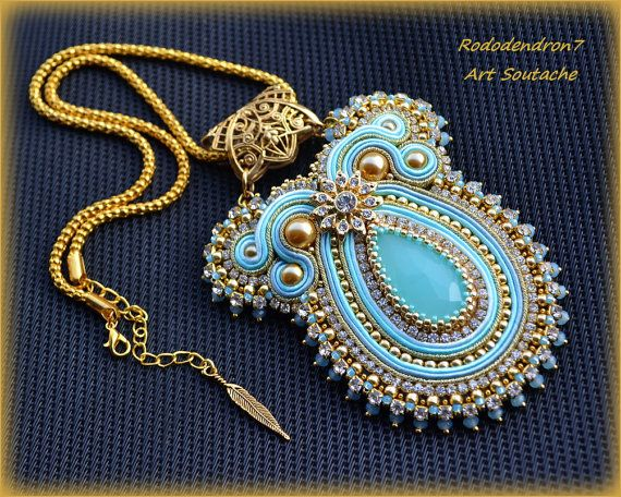 Big elegant soutache pendant necklace colorful by rododendron7