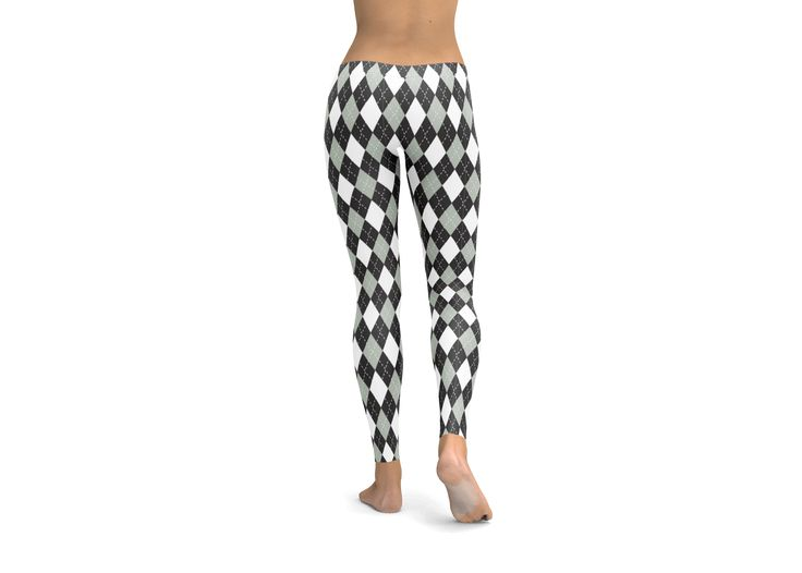 Argyle Black and White Leggings, Yoga Pants, tights, workout gear, cute leggings