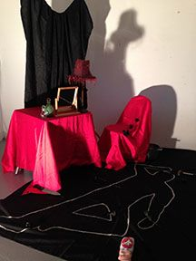 Setting up for the first photo shoot in the Photography studio