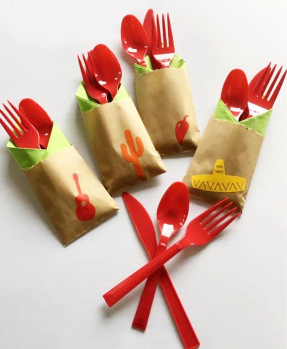 Fiesta Cutlery Bags - Set of 24  Add a special touch to your event with these adorable cutlery bags. This listing includes 24 kraft bags affixed with red, orange and yellow fiesta decals; along with 24 napkins, 24 forks, 24 spoons, and 24 knives in the color of your choice. Each bag measures 4 x 2.5 inches. Consider using as treat bags and party favors too. These cutlery bag sets will be the perfect addition to your bash!  Color options: View the color charts in the listing photos above…