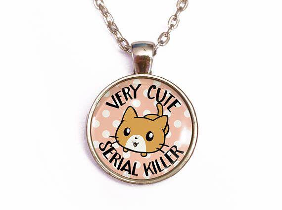 Serial killer kawaii kitten cat necklace polka dot jewelry