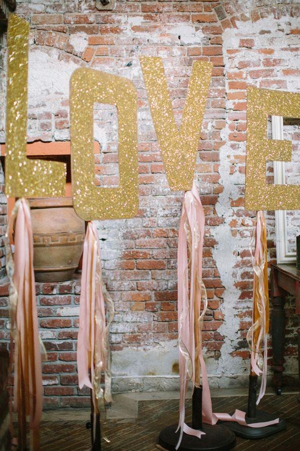 glittery love sign
