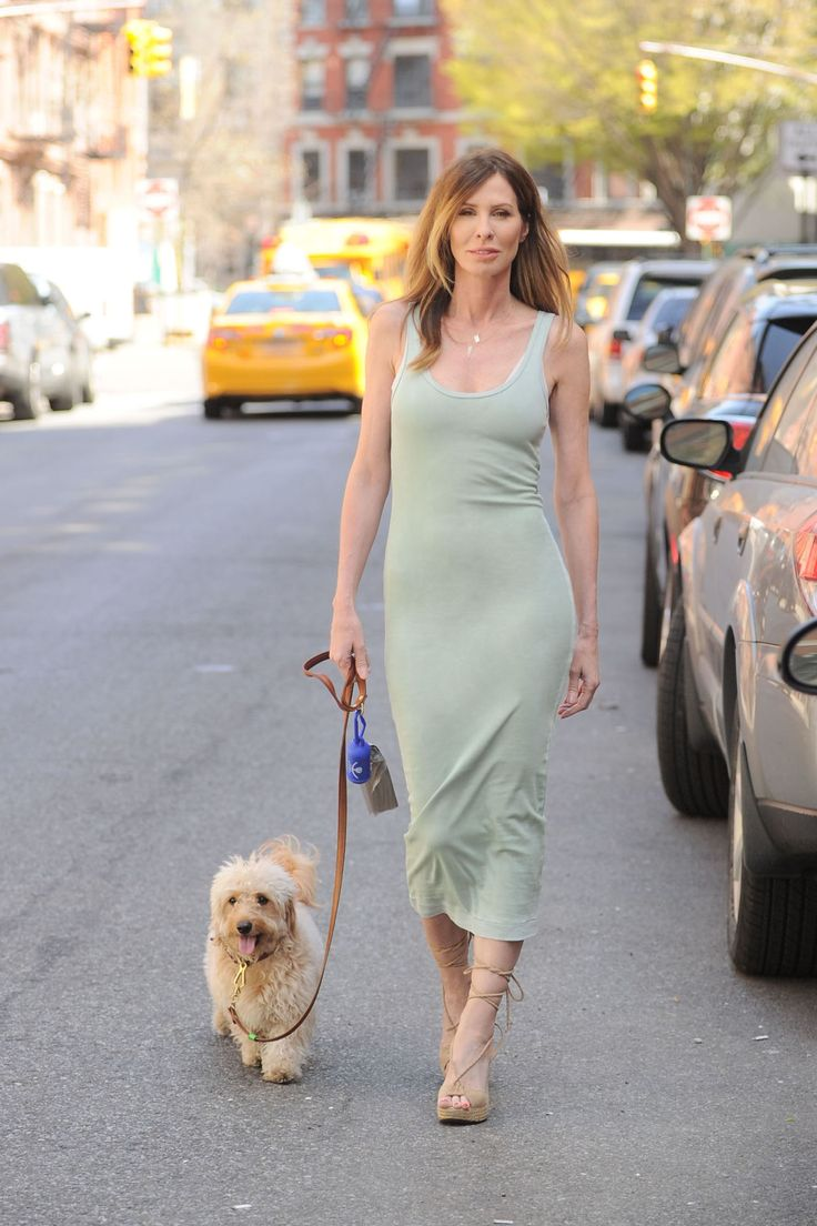 Love the color and cut of this dress. The nude color roman lace up sandals are perfect. Carole Radziwill, 52, author of The Widow's Guide to Sex and Dating: A Novel