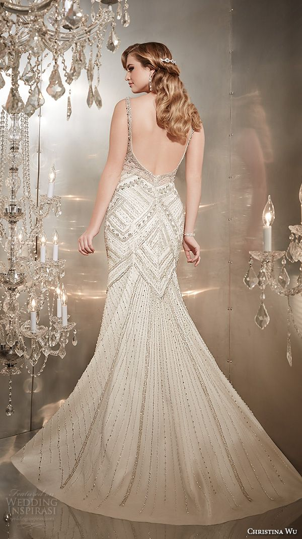 christina wu wedding dresses 2015 sleeveless v neckline with strap beaded gorgeous trumpet mermaid wedding dress 15561 back view