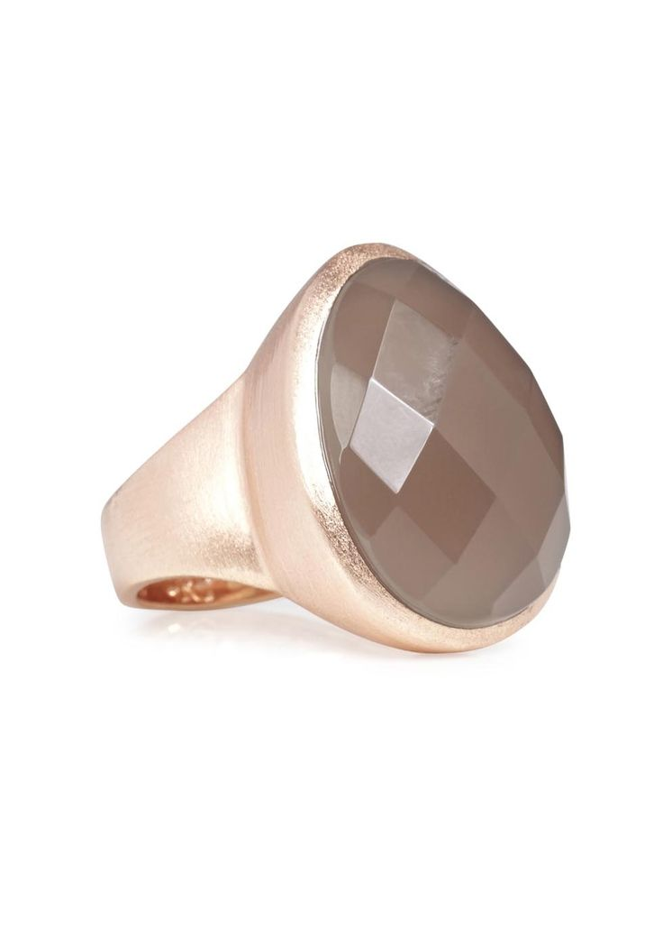 Lola Rose rose gold tone brass ring Grey Agate stone Comes with a designer stamped pouch
