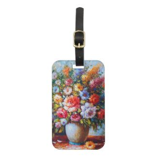 Vintage Floral Bright Country Flowers Painting Luggage Tag