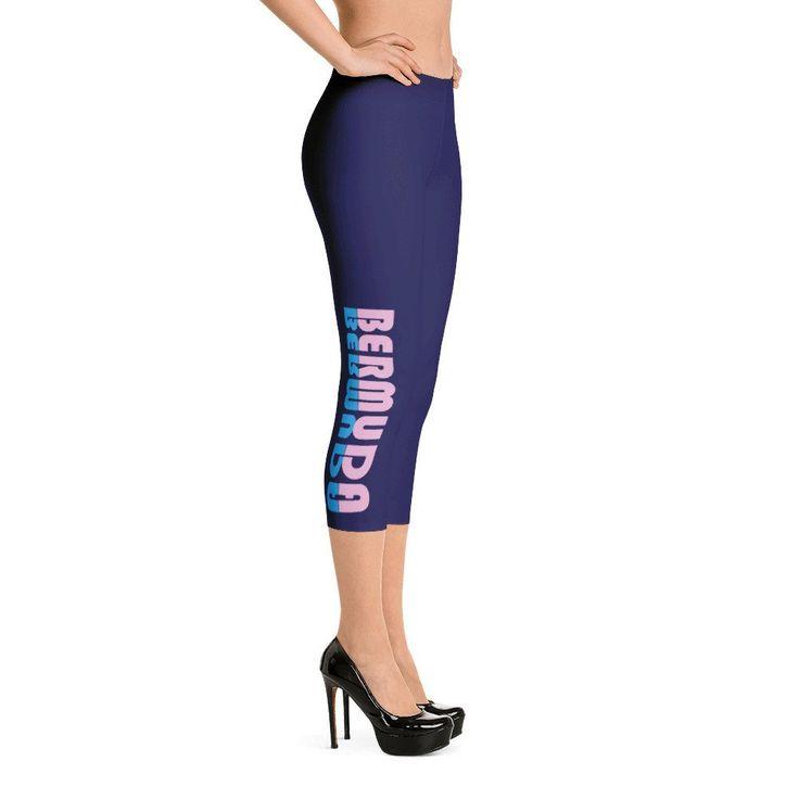 """Navy Blue Capri Leggings - Bermuda  Yoga Capri Leggings with Saying """"BERMUDA"""" in Pink and Blue Lettering - Workout Leggings - Capri Leggings - Purple Leggings - Printed Leggings - Colorful Leggings - 3/4 length Leggings - Workout Pants - Fitness Leggings - Gym Leggings - Activewear bottoms - Activewear Leggings - Luxury Leggings - Comfortable Leggings"""