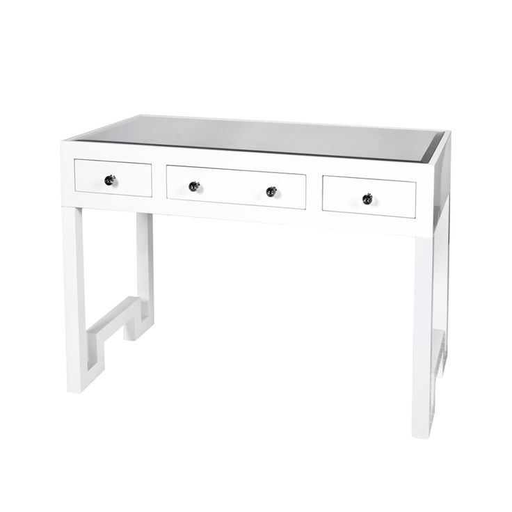 REECE WH - WHITE LACQUER 3 DRAWER DESK/CONSOLE
