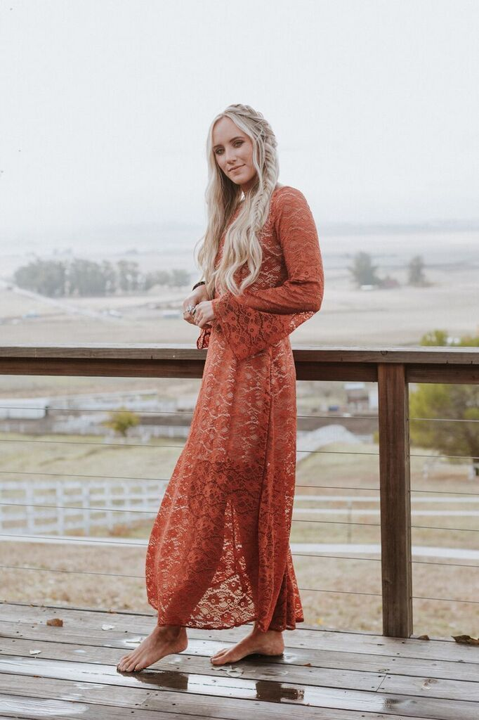 Lace Red Boho Dress