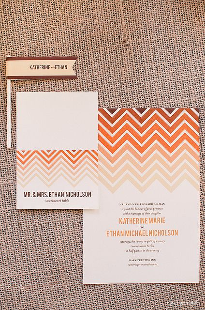 Ombre chevron invitation set by blush printables