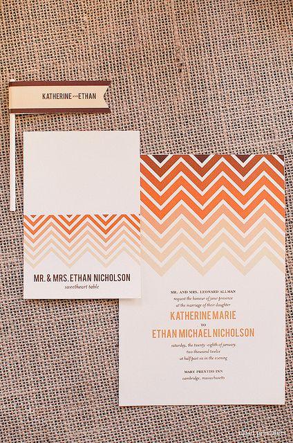 Ombre Chevron - Wedding Invitation Set by blush printables