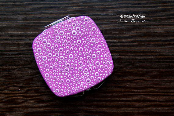 READY TO SHIP / Pocket mirror Hand painted Compact Mirror