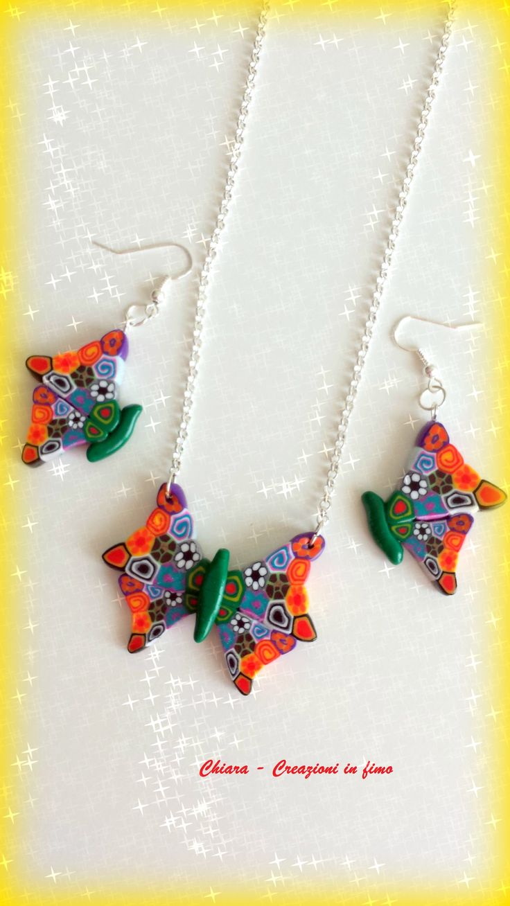 Parure in #fimo #handmade #polymerclay #butterfly #canes #colors