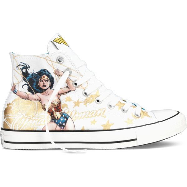 Converse Chuck Taylor DC Comics Wonder Woman – white Sneakers ($40) ❤ liked on Polyvore featuring shoes, sneakers, converse, white, converse sneakers, white sneakers, white shoes, converse shoes and converse trainers