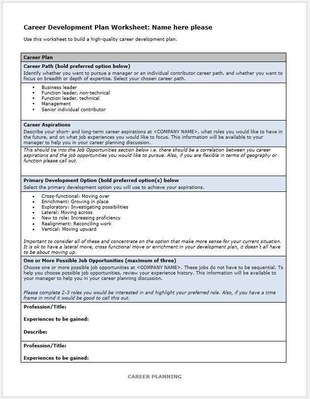 Career Plan Template New 10 Career Development Plan Examples Pdf Word Career Development Plan Career Planning Professional Development Plan