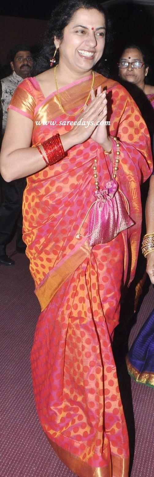 suhasini in pink uppada pattu silk saree