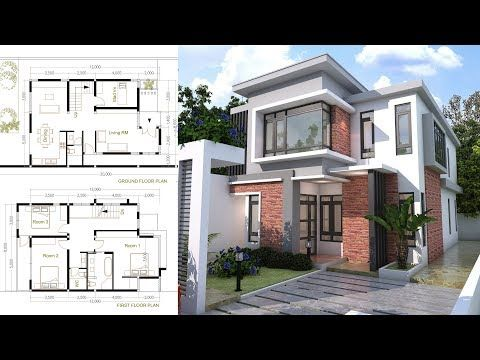 Sketchup House Modeling Idea From Photo 8x10m In This Video I Am Going To Show You How To Fit Courtyard House Plans Modern Courtyard Architectural House Plans