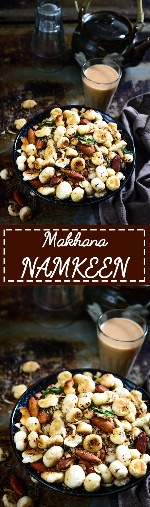 Makhana Namkeen is a low fat, tasty snack that is also great for health. Indian, snack, easy, recipe, haelthy, best, quick, falahari, fast, fasting, vrat, navratri, shivratri, janamashtami, diwali, festival via @WhiskAffair