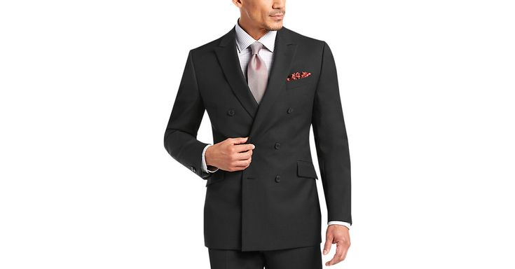 Check this out! Double Breasted - JOE by Joseph Abboud Black Tic Slim Fit Suit from MensWearhouse. #MensWearhouse