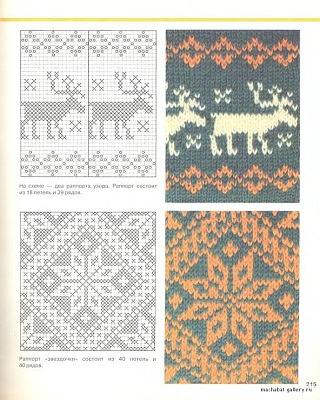 Fair Isle, stranded Knitting Winter pattern - moose and snowflake charts