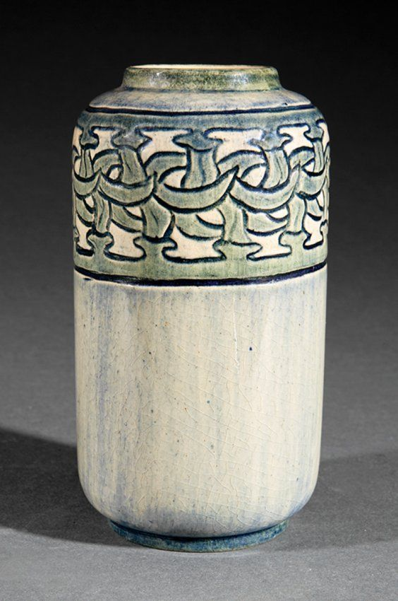 Stylized Peppers Vase | Newcomb College 1903 | decorated by Maria de Hoa LeBlanc | thrown by Joseph Meyer