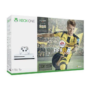 Xbox One S 1TB FIFA 17 Bundel  Speel FIFA 17 als eerste op de Xbox One S! De console is 40% kleiner heeft 4k Ultra HD-video High Dynamic Range en een verbeterde controller. Inclusief 1TB harde schijf.  EUR 349.00  Meer informatie