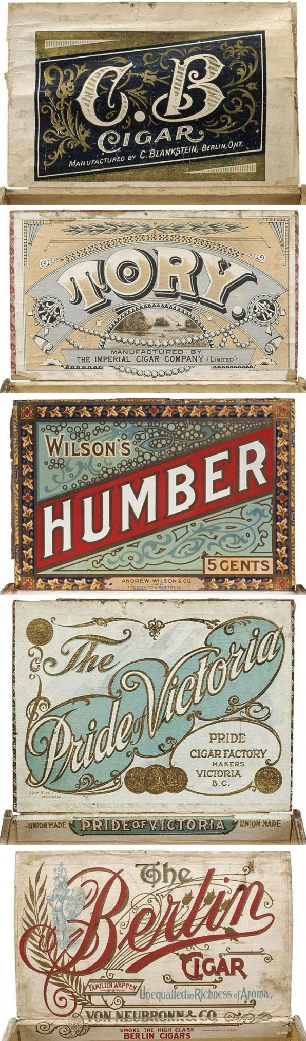 These cigar box labels are beautiful without being too fussy.