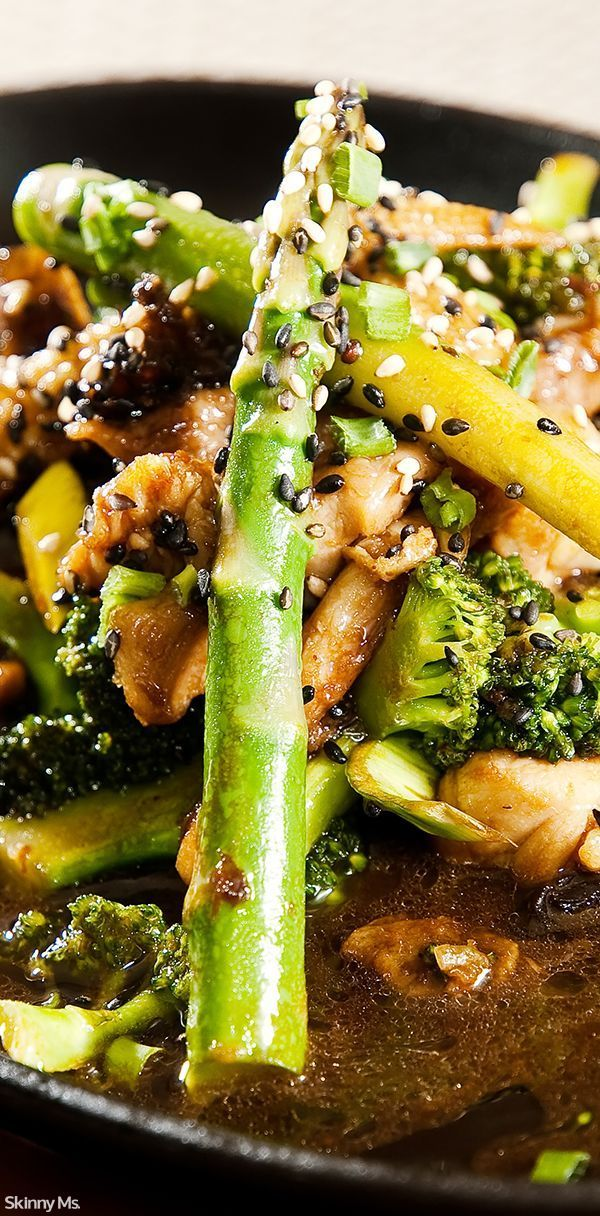 Chicken Broccoli and Asparagus Stir-Fry - easy and packed with superfood nutrition!  #chickenbroccoliasparagus #broccoli #asparagus