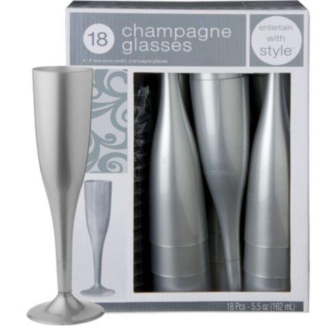 silver premium plastic champagne flutes 18ct party city