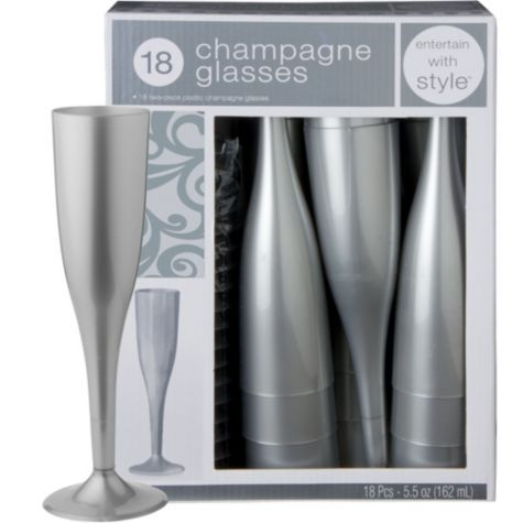 Silver Premium Plastic Champagne Flutes 18ct - Party City