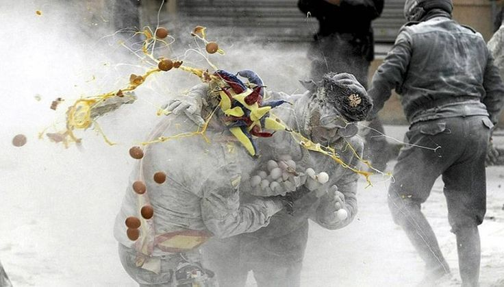 Spanish Festival of Els Enfarinants Celebrated with Flour Fight in the town of Ibi in Alicante, Spain on Dec. 28th as part of the celebrations related to the Day of the Innocents.
