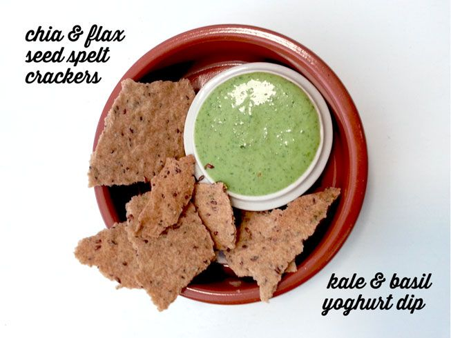 Chia and Flaxseed Crackers and Kale and Basil Yoghurt Dip