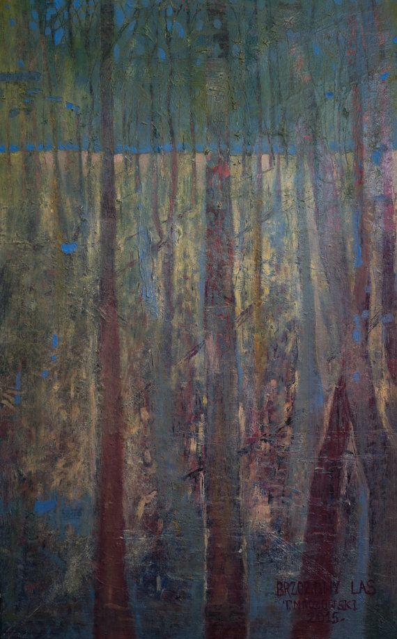 Brzozowy Las Birch forest  Original oil by PaintingThomasMrozow