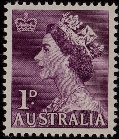 ACSC 293B) 1953. Queen Elizabeth II. 1d. Perforation 15 x 14. No watermark. Pale Purple