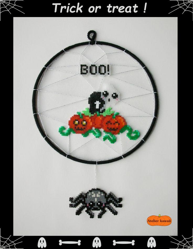 Attrape-rêve d'Halloween en perles Hama (perles à repasser).